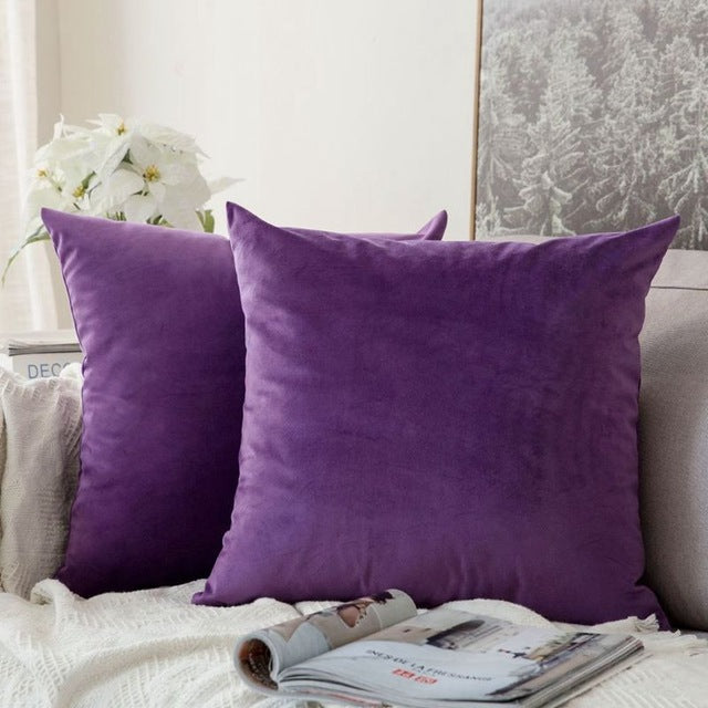 Soft purple decorative velvet throw cushion covers