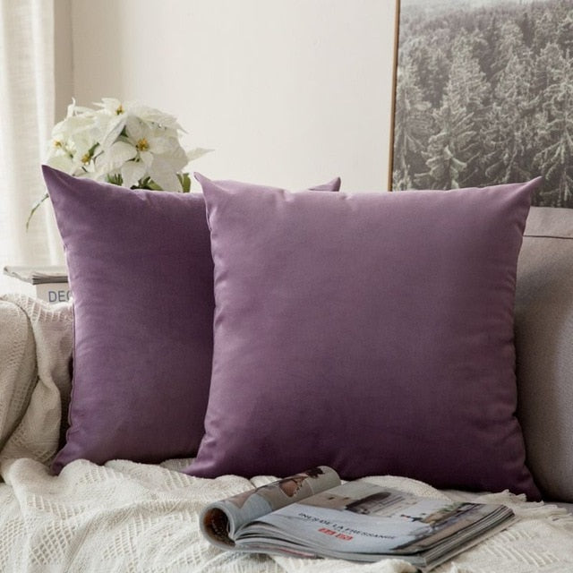 Soft mauve decorative velvet throw cushion covers