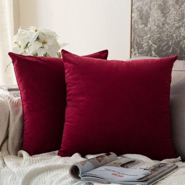 Soft red decorative velvet throw cushion covers