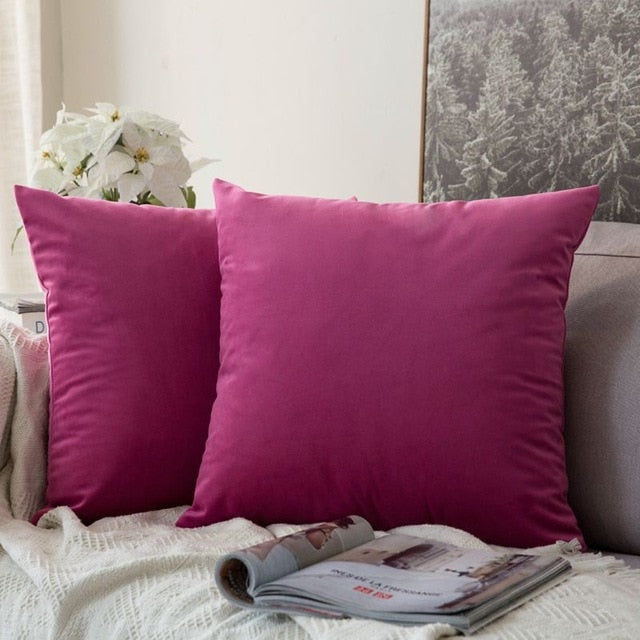 Soft bright pink decorative velvet throw cushion covers
