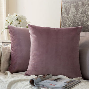 Soft lilac decorative velvet throw cushion covers