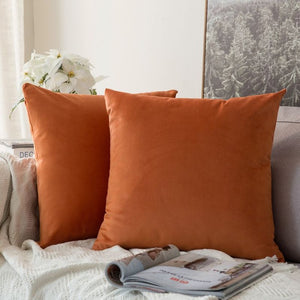 Soft orange decorative velvet throw cushion covers