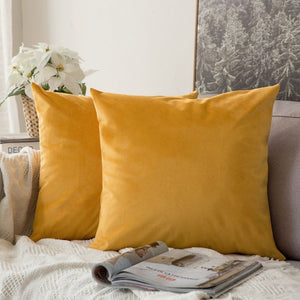 Soft gold decorative velvet throw cushion covers