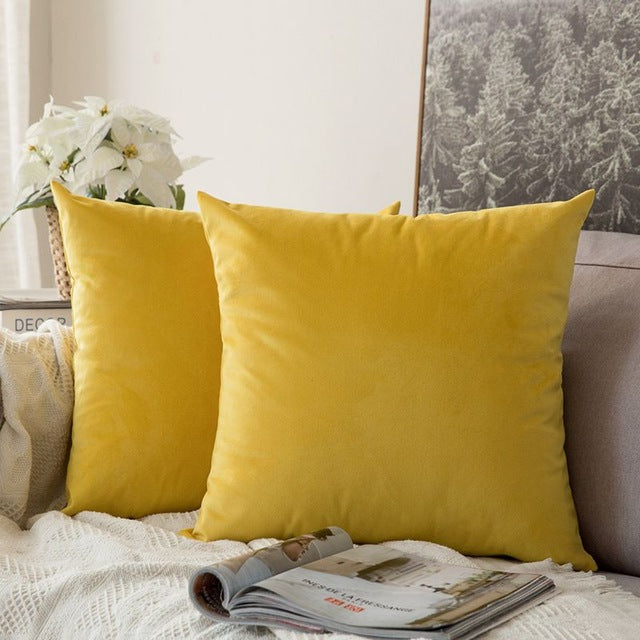 Soft yellow decorative velvet throw cushion covers