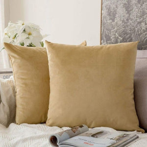 Soft ivory decorative velvet throw cushion covers