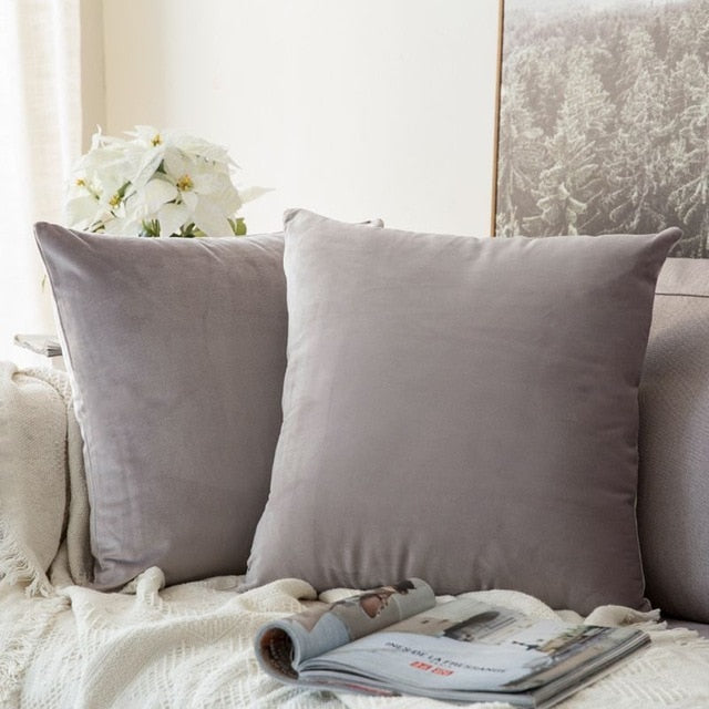 Soft grey decorative velvet throw cushion covers