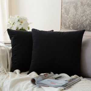 Soft black decorative velvet throw cushion covers