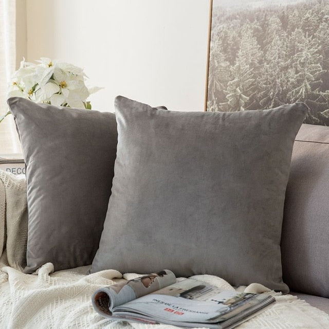 Soft dark grey decorative velvet throw cushion covers