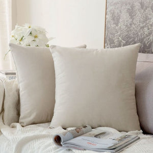 Soft beige decorative velvet throw cushion covers