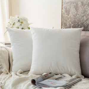 Soft white decorative velvet throw cushion covers