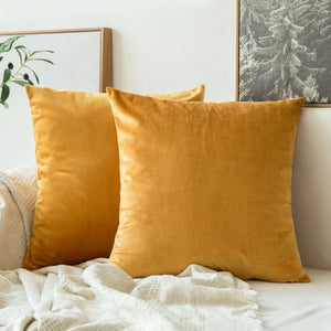 Soft mustard decorative velvet throw cushion covers