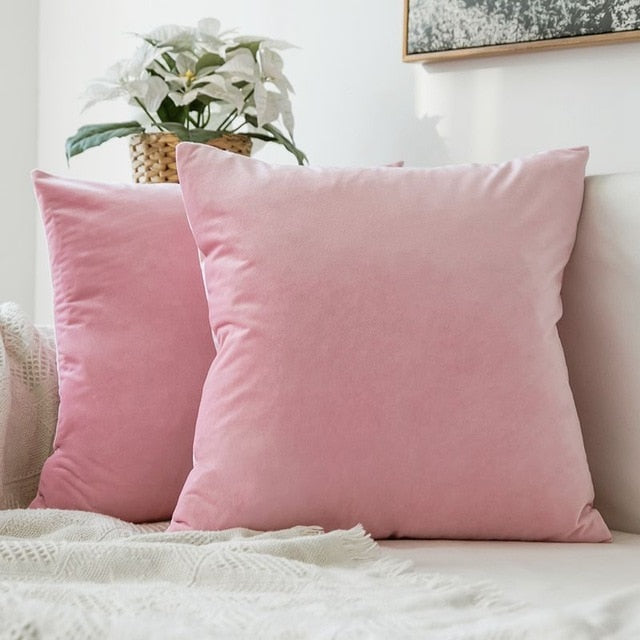 Soft baby pink decorative velvet throw cushion covers