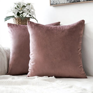 Soft pink decorative velvet throw cushion covers