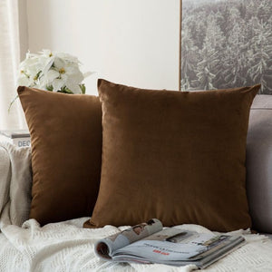 Soft chocolate decorative velvet throw cushion covers
