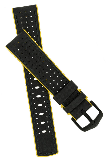 Hirsch AYRTON Carbon Embossed Performance Watch Strap in BLACK / YELLOW
