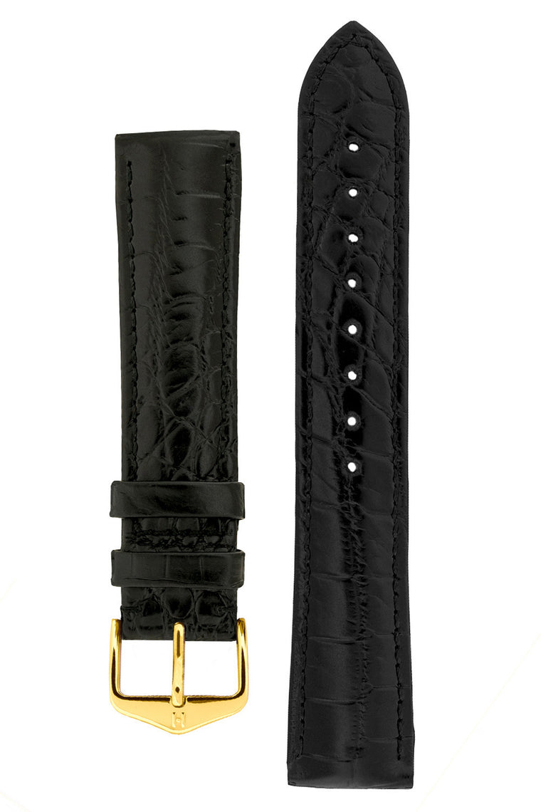 Hirsch BARON Nile Crocodile Leather Watch Strap in BLACK