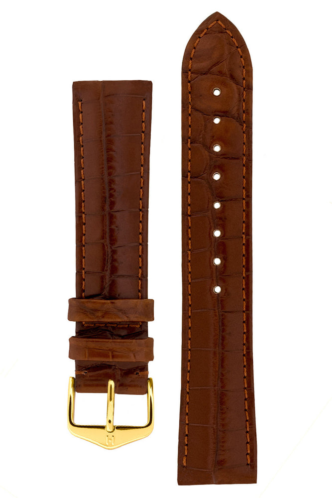 Hirsch BARON Nile Crocodile Leather Watch Strap in GOLD BROWN