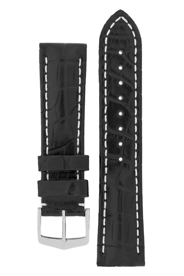 Hirsch CAPITANO Padded Alligator Leather Water-Resistant Watch Strap in BLACK