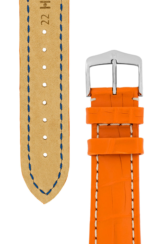 Hirsch CAPITANO Padded Alligator Leather Watch Strap in ORANGE
