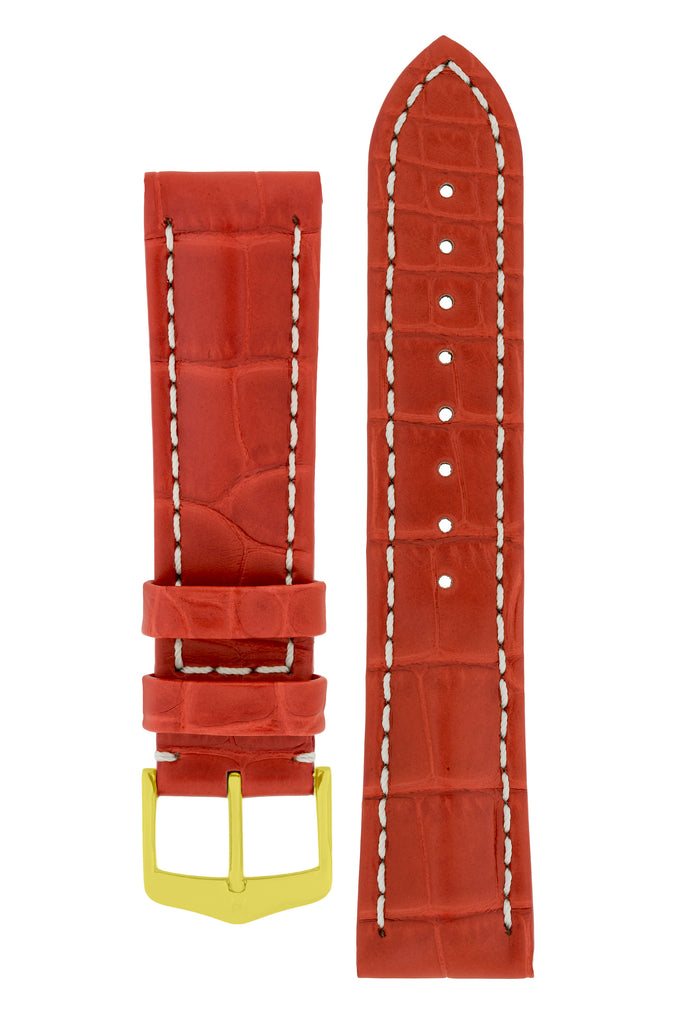 Hirsch CAPITANO Padded Alligator Leather Watch Strap in RED