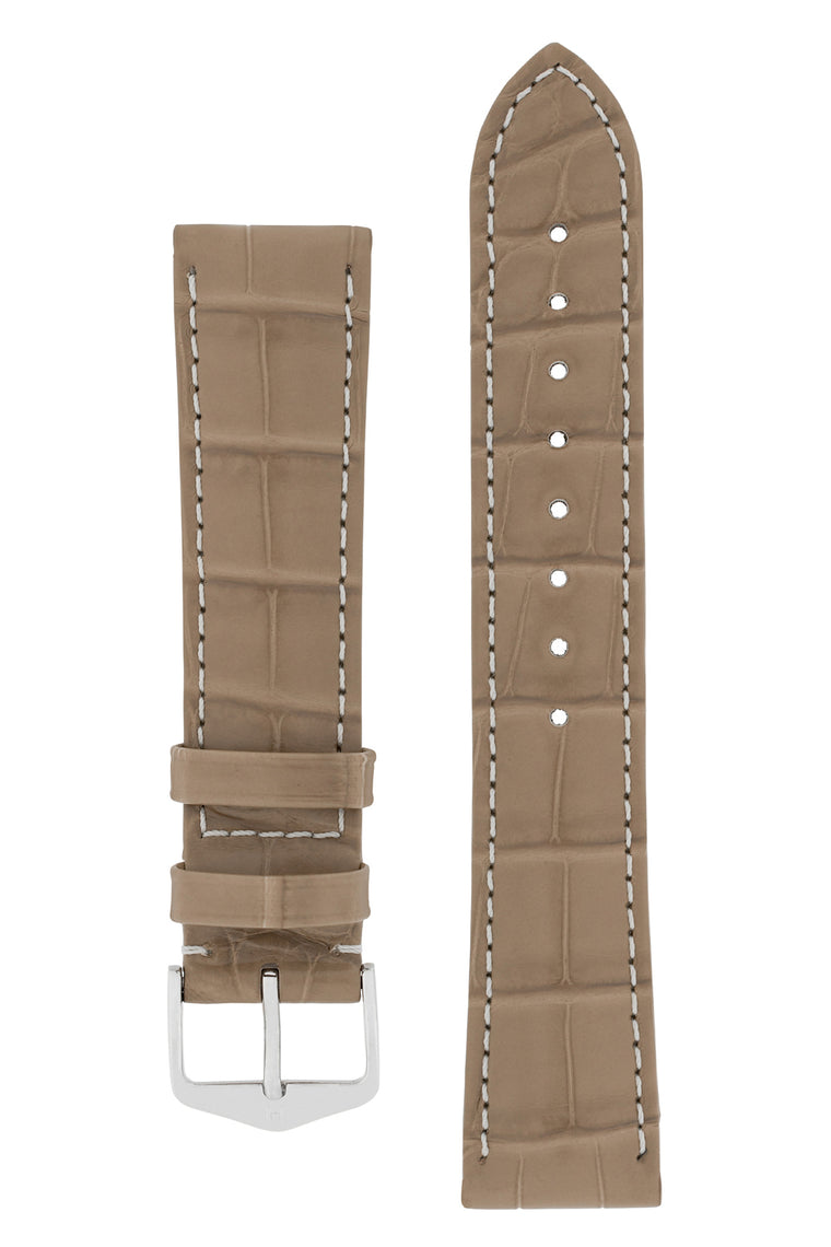 Hirsch CONNOISSEUR Genuine Alligator Watch Strap in BEIGE