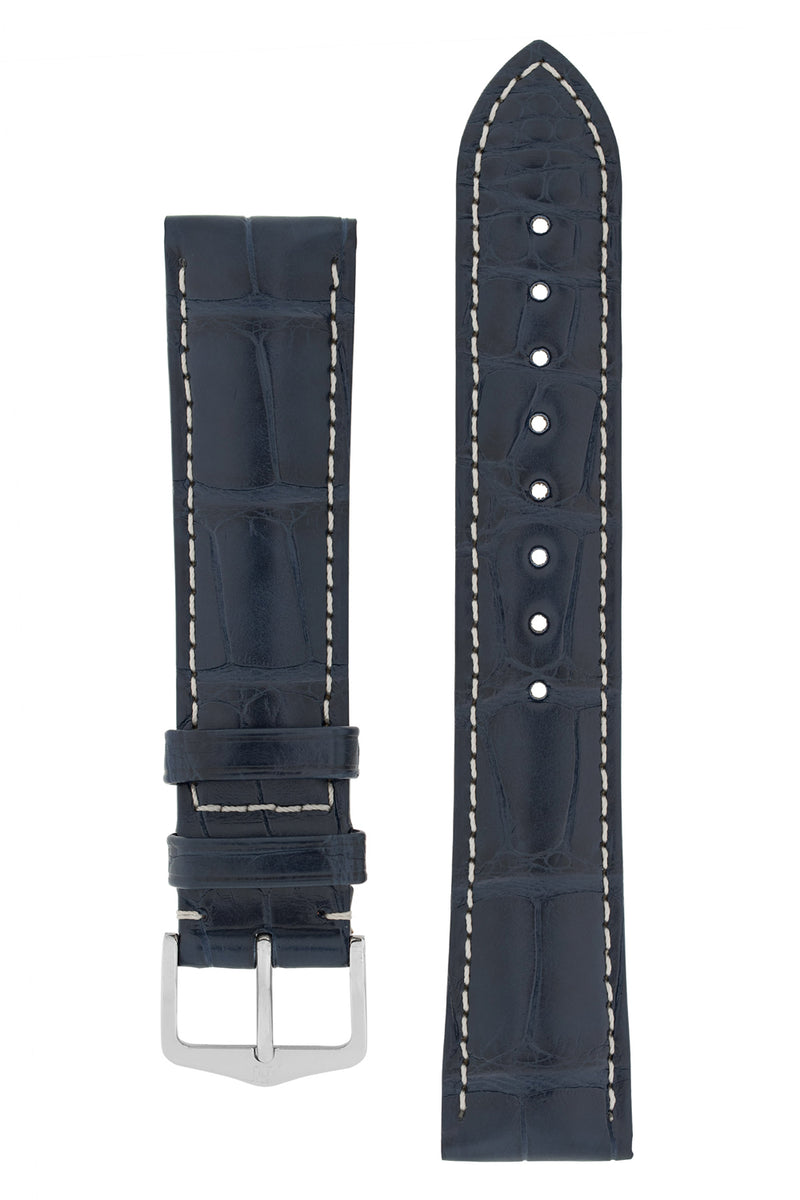 Hirsch CONNOISSEUR Genuine Alligator Watch Strap in BLUE