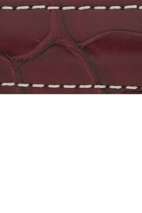 Hirsch CONNOISSEUR Genuine Alligator Watch Strap in BURGUNDY