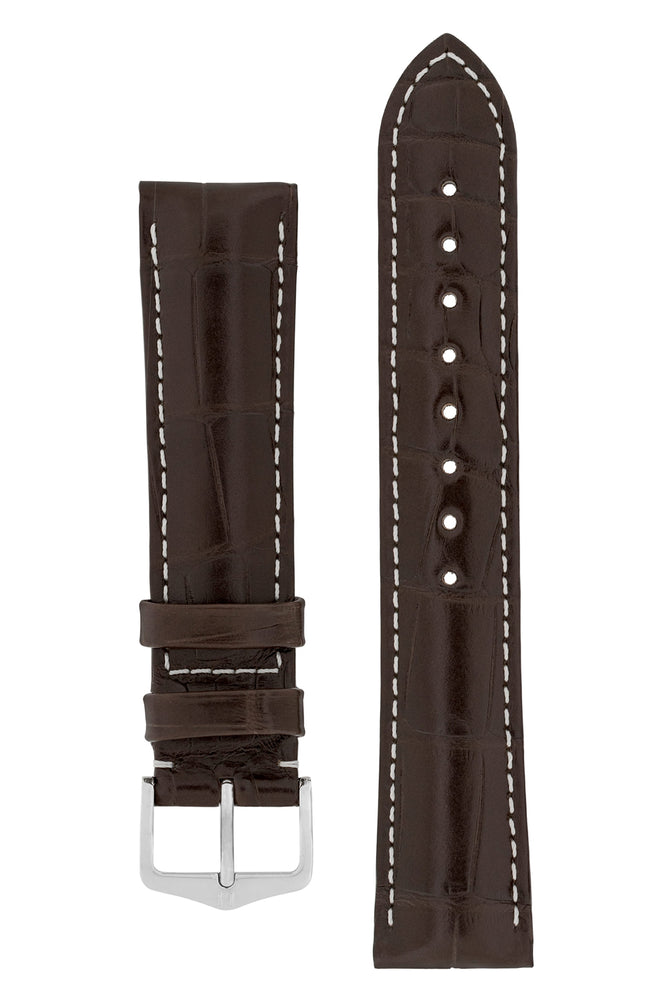 Hirsch CONNOISSEUR Genuine Alligator Watch Strap in DARK BROWN