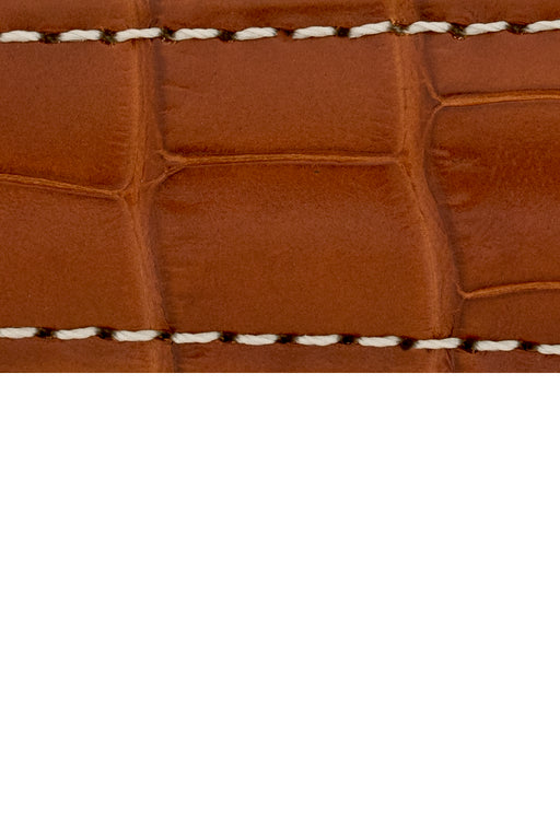 Hirsch CONNOISSEUR Genuine Alligator Watch Strap in GOLD BROWN