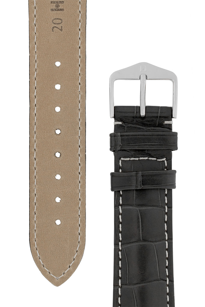 Hirsch CONNOISSEUR Genuine Alligator Watch Strap in GREY