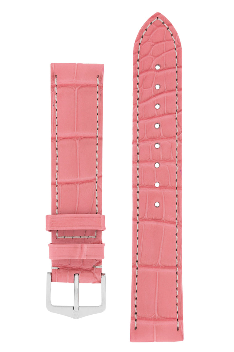 Hirsch CONNOISSEUR Genuine Alligator Watch Strap in PINK