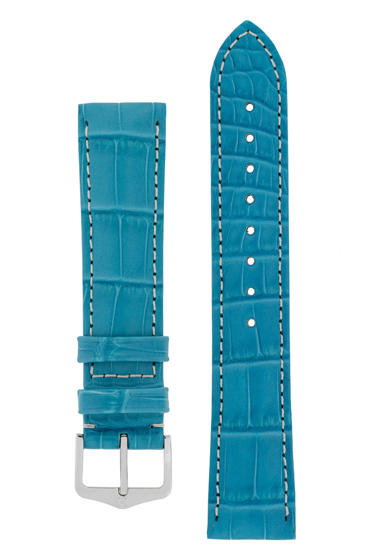 Hirsch CONNOISSEUR Genuine Alligator Watch Strap in TURQUOISE