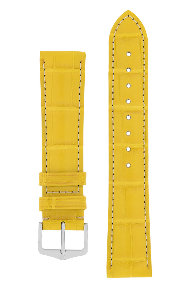 Hirsch CONNOISSEUR Genuine Alligator Watch Strap in YELLOW