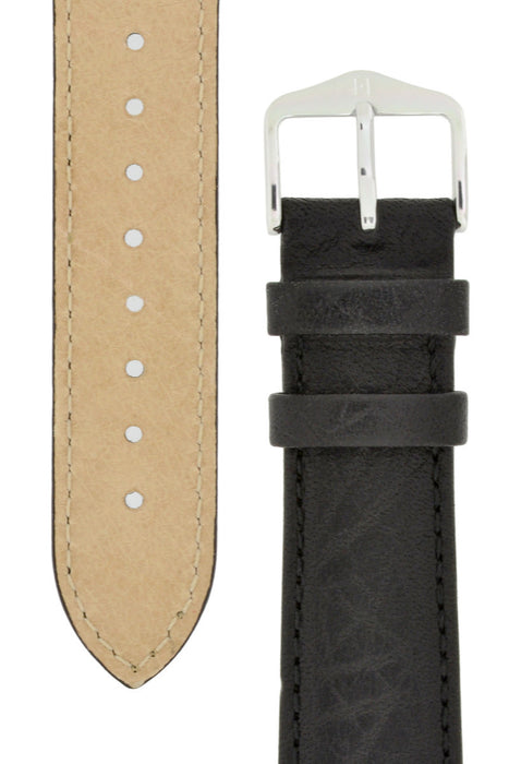 Hirsch DENVER Natural Leather Watch Strap in BLACK