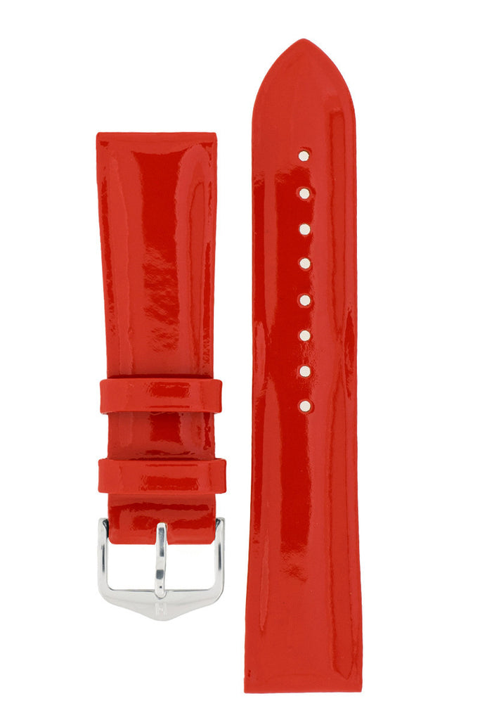 Hirsch DIVA Glossy Ladies Leather Watch Strap in RED