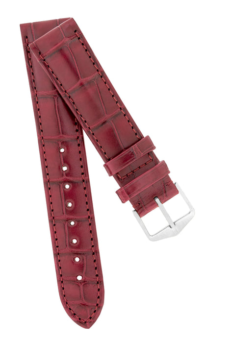 Hirsch EARL Genuine Alligator Watch Strap in BURGUNDY