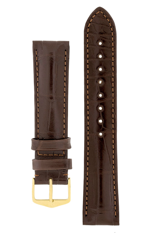 Hirsch EARL Genuine Alligator Watch Strap in DARK BROWN