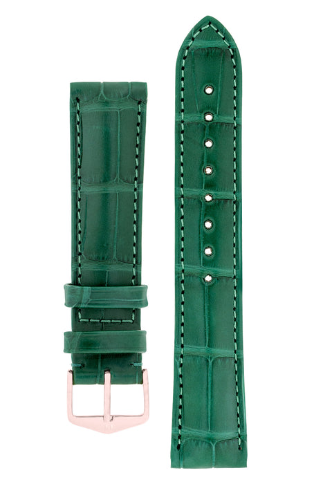 Hirsch EARL Genuine Alligator Watch Strap in DARK GREEN