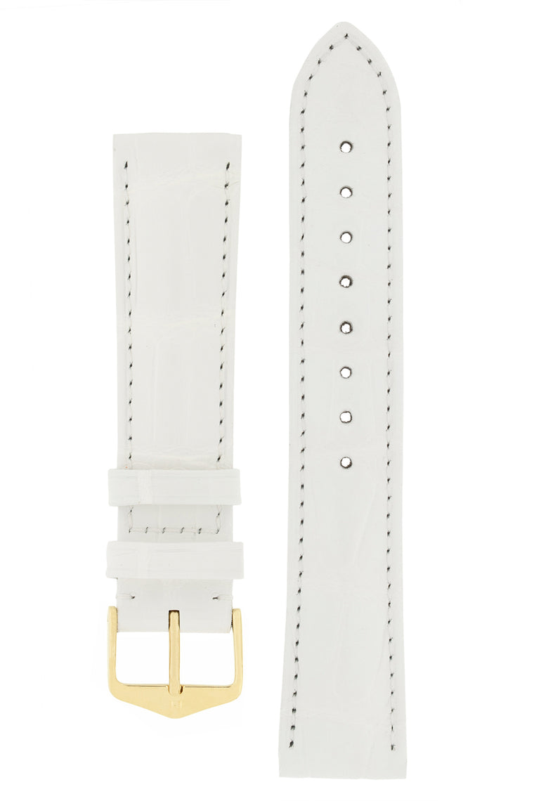 Hirsch EARL Genuine Alligator Watch Strap in WHITE