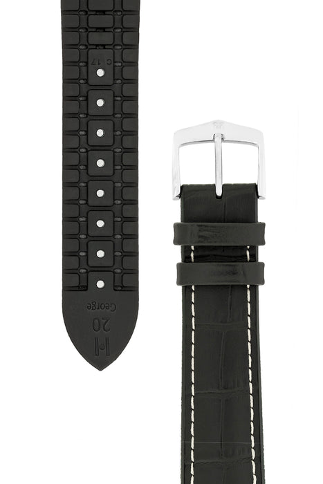 Hirsch GEORGE Alligator Embossed Performance Watch Strap in BLACK/WHITE