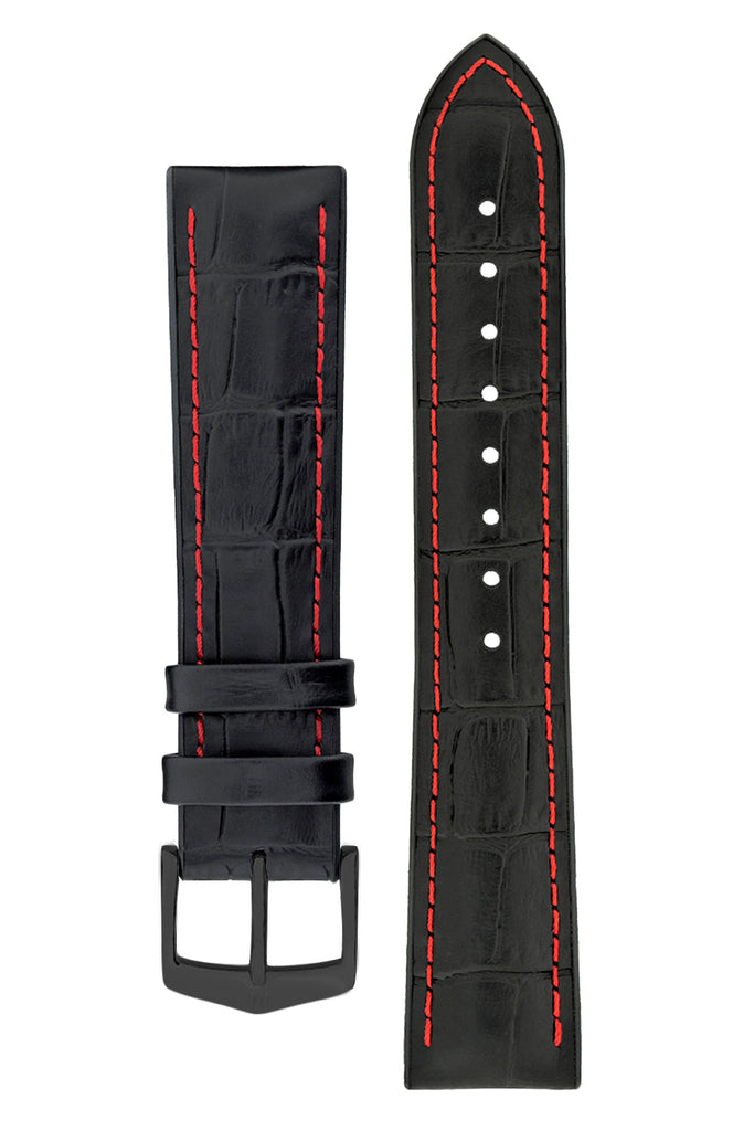 Hirsch GEORGE Alligator Embossed Performance Watch Strap in BLACK / RED