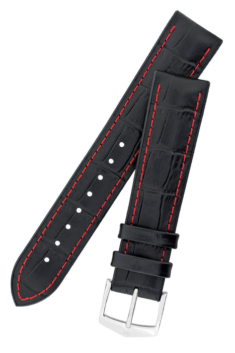 Hirsch GEORGE Alligator Embossed Performance Watch Strap in BLACK/RED