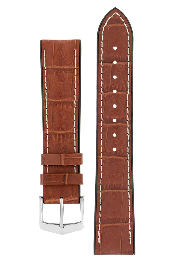 Hirsch GEORGE Alligator Embossed Performance Watch Strap in GOLD BROWN