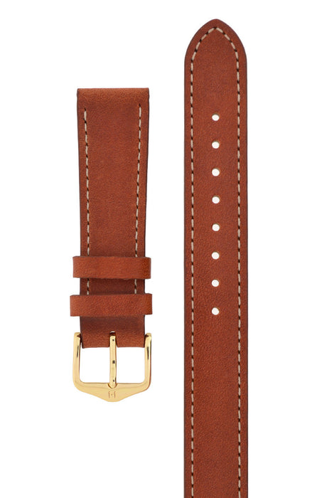 Hirsch GRACE Ladies Wrap Around Leather Watch Strap in GOLD BROWN