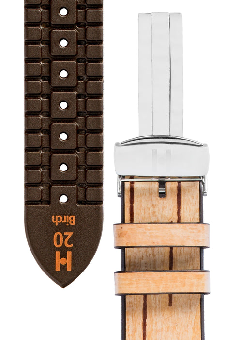 Hirsch BIRCH Tree Bark Deployment Watch Strap in BEIGE