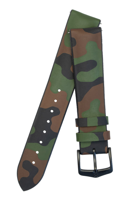 Hirsch JOHN Natural Rubber Performance Watch Strap in GREEN CAMOUFLAGE