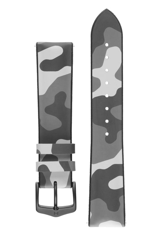 Hirsch JOHN Natural Rubber Performance Watch Strap in GREY CAMOUFLAGE