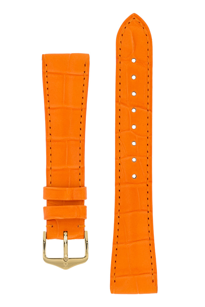 Hirsch LONDON Matt Alligator Leather Watch Strap in ORANGE