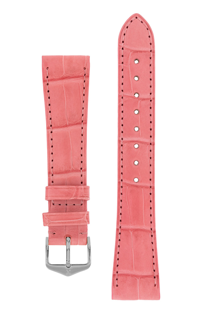 Hirsch LONDON Matt Alligator Leather Watch Strap in PINK