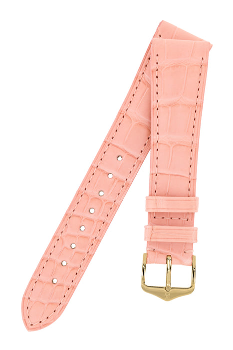 Hirsch LONDON Matt Alligator Leather Watch Strap in ROSA